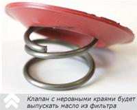 клапан масляного фильтра с неровными краями